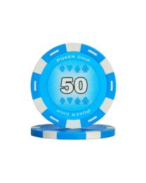 Colour poker chips light blue 50