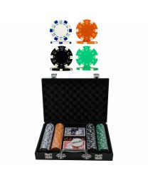 200 Poker Chips Sets Leather-Look Case