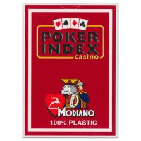 Modiano Plastic Poker Index Casino Cards Red